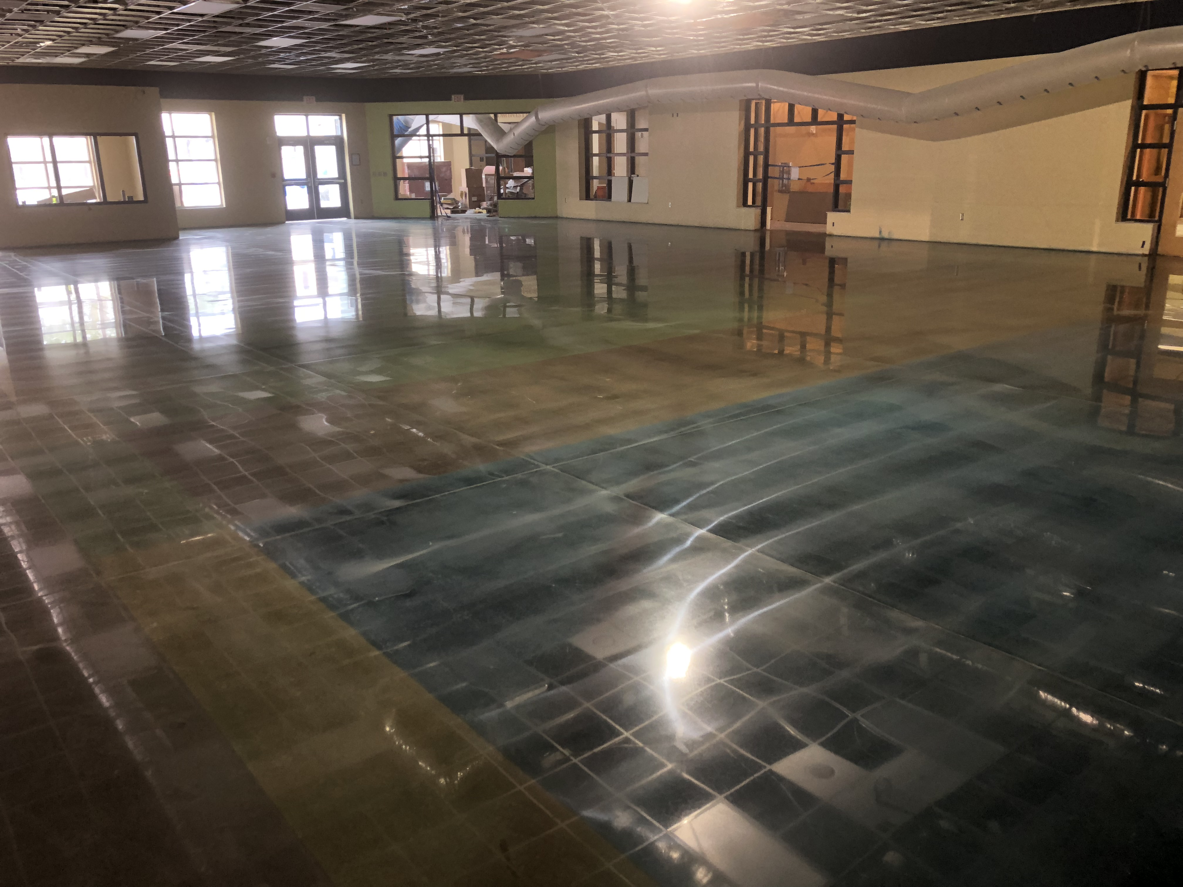 A full shot of a beautiful decoratively colored polished concrete floor.